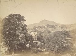 Old Gaya from the outskirts looking west. Brahmajuni hill & temple in the distance